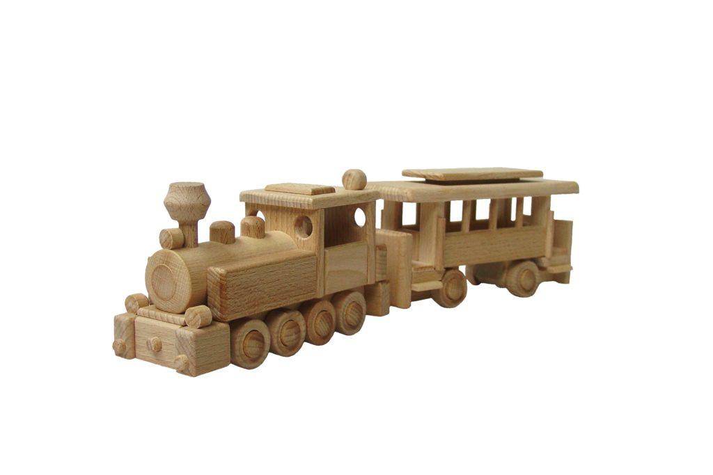 dřevěná-parní lokomotiva